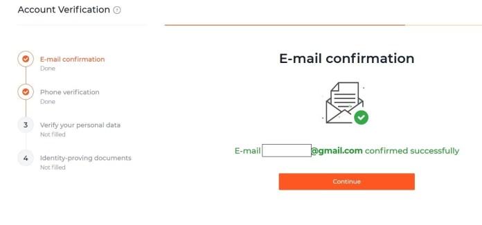ส่งอีเมลยืนยันที่ IQ Option