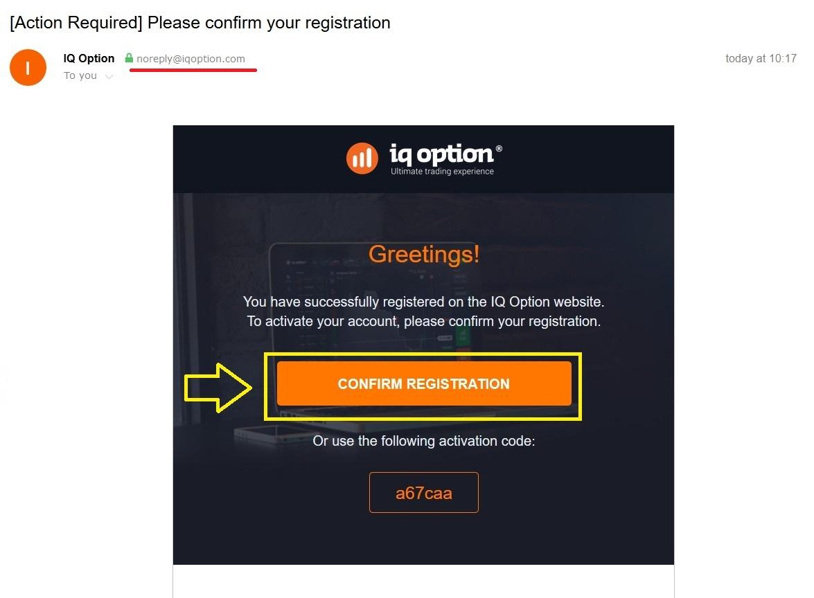 ไปที่อีเมลของคุณเพื่อเปิดใช้งานบัญชี IQ Option ของคุณ