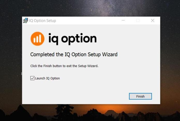 Instalação completa do aplicativo de negociação IQ Option