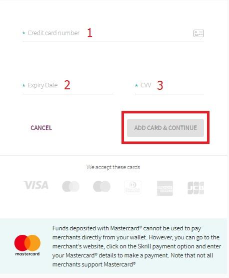 Masukkan informasi kartu Visa / Master Anda