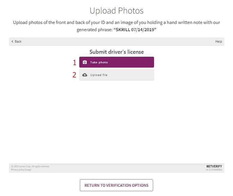 Pilih Unggah file untuk mengunggah gambar ID dari komputer