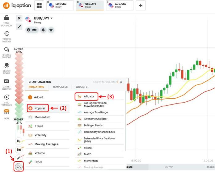 How to set up Alligator indicator in IQ Option