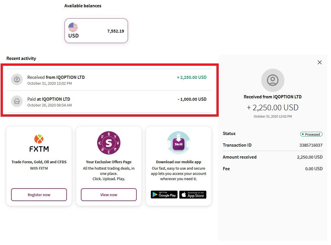 Ta ut penger til Skrill e-lommebok
